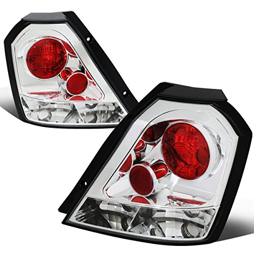 For 2004-2008 Chevy Aveo 5 Hatchback Chrome Housing Altezza Style Tail Light Brake/Parking Lamps