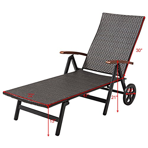 Outdoor Chaise Lounge with 2 Wheels for Easy Movement Folding Recliner 7 Adjustable Position Rattan Lounge Chair Heavy Duty Aluminum Tube Construction Perfect for Patio Garden Beach Pool Side Using by HPW (Image #1)