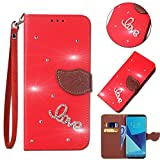 Leecase Bling Diamond Sparkle Glitter 3D PU Leather Bookstyle Magnetic Closure Wallet Flip Cover Creative Love Rhinestone Leaf Pattern for Huawei P9 Lite-Red