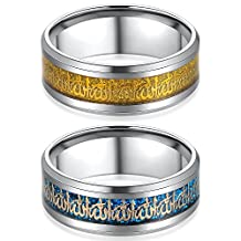 FM42 8mm Stainless Steel Allah Ring for Arabic Islamic Muslim Religious Jewelry Size 6-13 (Pack of 2)
