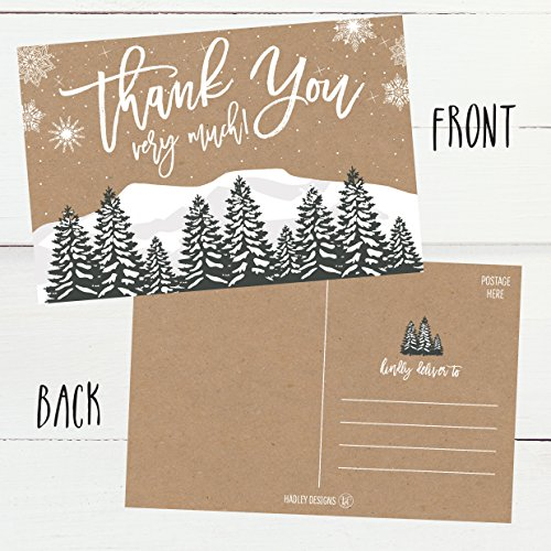 25 4x6 Woodland Christmas Holiday Thank You Postcards Bulk, Blank Cute Modern Kraft Winter Note Card Stationery For Wedding, Bridesmaids, Bridal or Baby Shower, Teachers, Religious, Business Cards Photo #3