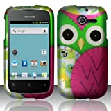 Combo 2 packs, Snap On Hard Crystal Protector Cover Case For Huawei Ascend Y M866 - Owl + Stylus Pen