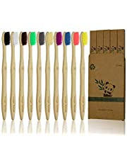 10 Pcs Bamboo Toothbrush, BPA Free Soft Bristle Toothbrush, Eco Friendly Natural Wooden Toothbrushes, Vegan Organic Bamboo Charcoal Tooth Brush for Sensitive Gums (10 Colors)