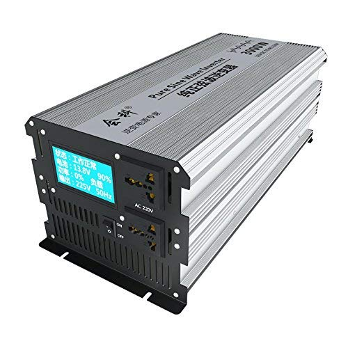 HuiKe Intelligent LCD 1500W (3000W Surge) Pure Sine Wave Power Inverter 12VDC to 220 VAC 50Hz with 2 AC Outlets, 2 Battery Cables
