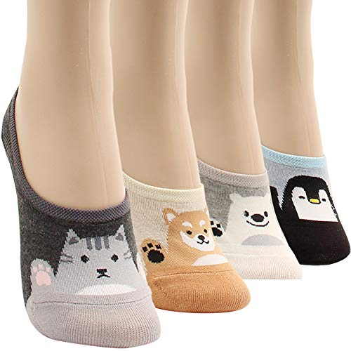 WOWFOOT Women Animal Design No-Show Casual Liner Socks Character Print Non Slip Flat Boat Line 4 Pair (4pairs-hey friends)