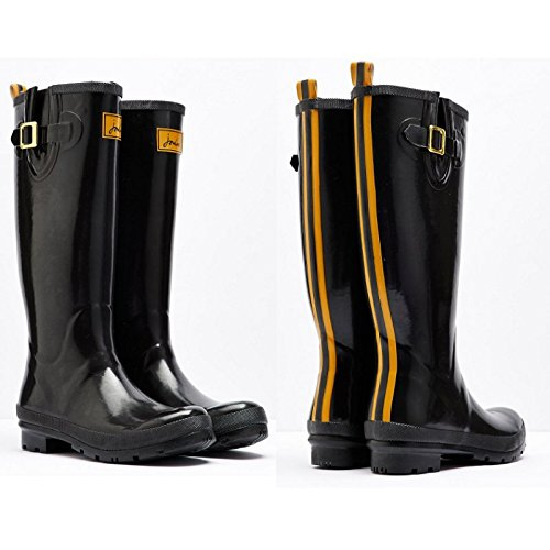 Joules Field Wellies Glossy Rain Boot Wellies-Black-8