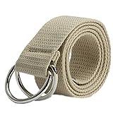 Alamana Fashion Casual Men Women Sport Canvas Belt Double Ring Buckle Waist Strap - Khaki