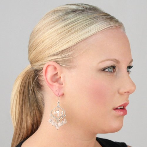 Elise's Briolette Chandelier Earrings - Clear - Final Sale