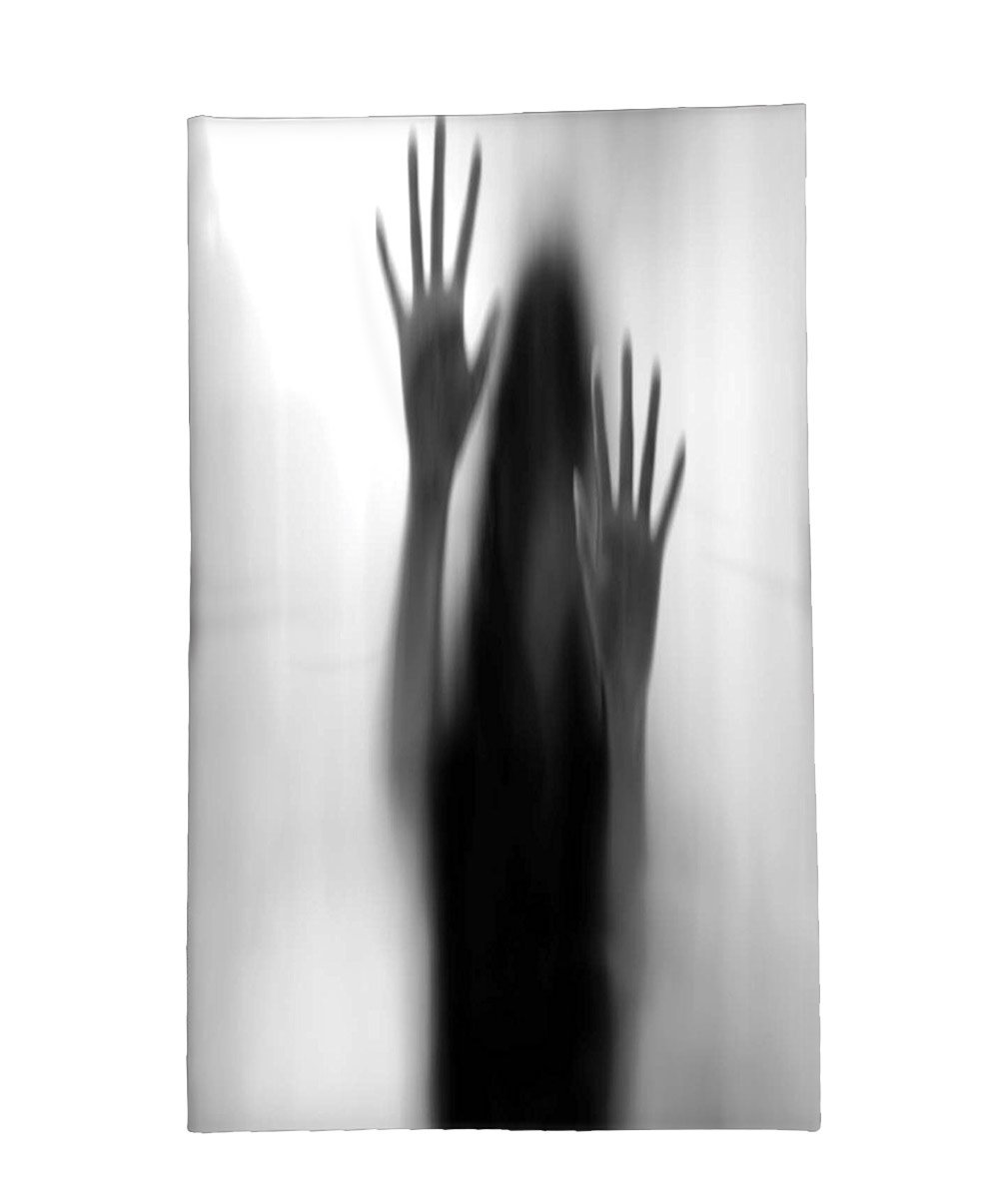 Interestlee Fleece Throw Blanket Horror House Decor Silhouette of Woman behind the Veil Scared to Death Obscured Paranormal Photo Gray