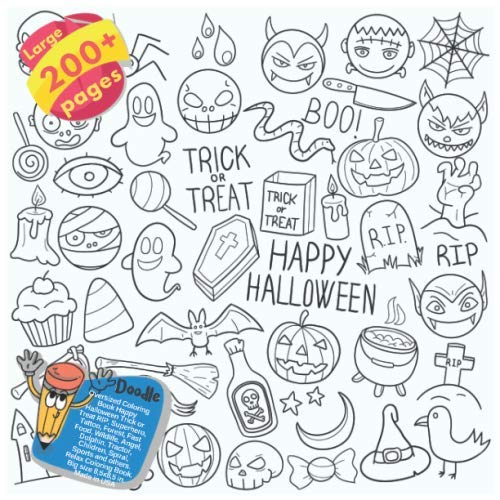 Oversized Coloring Book Happy Halloween Trick or Treat RIP, Superhero, Tattoo, Forest, Fast Food, Wildlife, Angel, Dolphin, Tractor, Children, Spiral, ... Trick or Treat RIP and others Doodle)]()