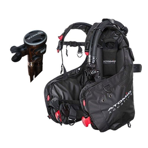 Atomic Aquatics BC1 Black with SS1 Titanium Safe Second Octo - (Titanium Vest)