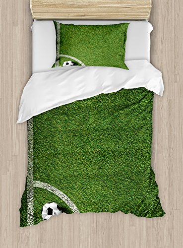 Ambesonne Sports Duvet Cover Set, Soccer Ball Corner Kick Position Football Field top View Grass Lawn Terrain, Decorative 2 Piece Bedding Set with 1 Pillow Sham, Twin Size, White Green