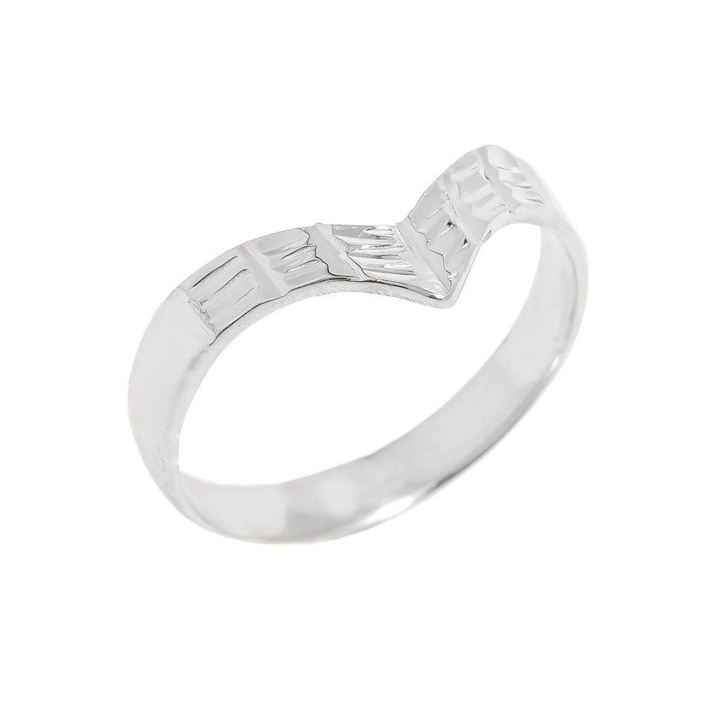 Solid 10k White Gold Fine Band Egyptian Thumb Ring (Size 13)