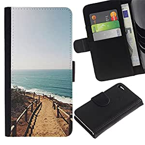 Paccase / Billetera de Cuero Caso del tirón Titular de la tarjeta Carcasa Funda para - summer beach California sun ocean - Apple Iphone 4 / 4S