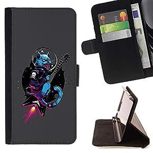 For HTC One M7 Case , Punk Rocker Rocket Guitarra Gato- la tarjeta de Crédito Slots PU Funda de cuero Monedero caso cubierta de piel