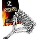 Grill Brush Bristle Free for Barbecue - BBQ Cleaning Brushes to Prevent Flare Ups for that Perfect Checkerboard Steak - Easily Cleans Metal Grills and Porcelain Grates without Damage
