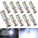 EverBright 10-Pack White 1157 BAY15D 1016 1034 1196 7528 18-SMD 5050 LED Replacement for Car Bulb Tail Brake Light Bulb Backup Lamp Parking Side Marker Lights DC 12V