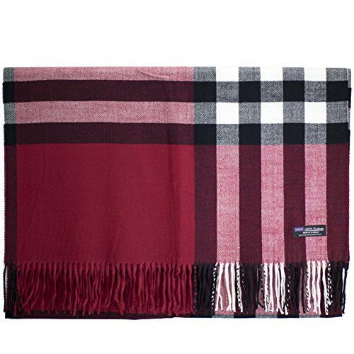 Cashmere Nova Check - 2 PLY 100% Cashmere Scarf BLANKET Collection Made in Scotland Wool Solid Plaid (Red OS Check)