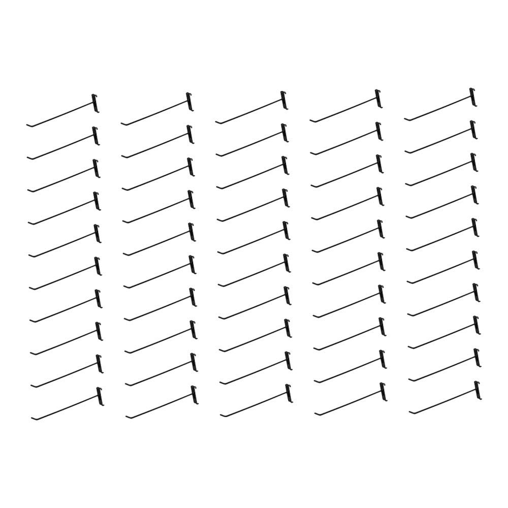 MH GLOBAL Set of 50 Pieces 12 Inch Length Gloss Black Metal Wire Gridwall Hooks Grid Panel Display Hanger