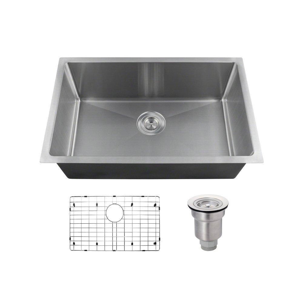 2920S-16 Single Bowl 3/4'' Radius Stainless Steel Sink Ensemble (Bundle - 3 Items: Sink, Grid, Basket Strainer) by MR Direct