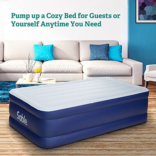 Sable Air Mattress with Built-in Electric Pump, Raised Blow up Air Bed with a Storage Bag, Height 18'', Twin Size
