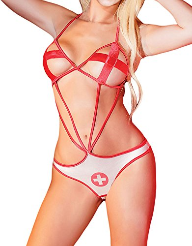 MYQueen Sexy Womens Costumes Nurse Character First Aid Teddy Nursing Costume Red Large (Grease Female Characters)