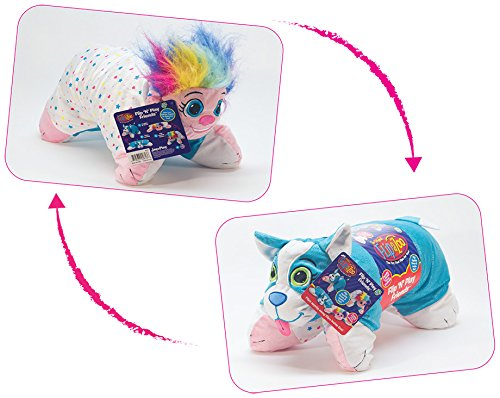Flipazoo Flip 'N' Play Friends Plush Toy & Pillow in 1 (Rainbow Troll to Wacky Dog) Instantly Transforms for Hours of Playtime and Naptime Fun