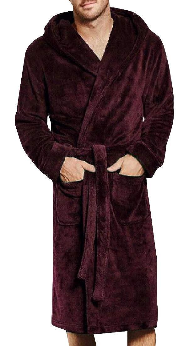 Comaba Mens Coral Velvet Knee Length Luxurious Family Pajama Robe