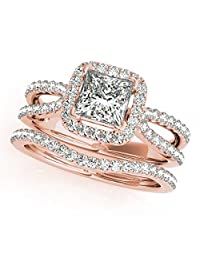 TVS-JEWELS Princess & Round Cut CZ 14k Rose Gold Plated 925 Silver Criss Cross Bridal Ring Set