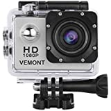 Vemont Action Camera 1080P 12MP Sports Camera Full HD 2.0 Inch Action Cam 30m/98ft Underwater Waterproof Camera with Mounting Accessories Kit (Silver)