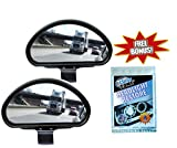 Clear Zone Blind Spot Mirror - Set of 2 w Bonus Headlight Restoring Wipes - Original As Seen on TV