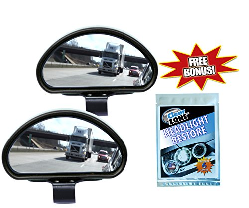 Clear Zone Blind Spot Mirror - Set of 2 w/ Bonus Headlight Restoring Wipes - Original As Seen on TV
