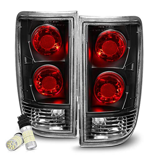 VIPMOTOZ For 1995-2005 Chevy Blazer GMC Jimmy Oldsmobile Bravada Black Bezel Euro Style Altezza Tail Light Lamp Assembly - Full SMD LED Reverse Bulbs Included, Driver & Passenger Side Replacement Pair