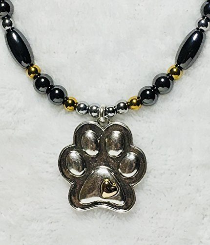 Print Tunnel Paw (Paw Print High Power Magnetic Hematite Necklace)