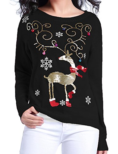 Ugly Christmas Shining Reindeer 3Dl Bells Sweater