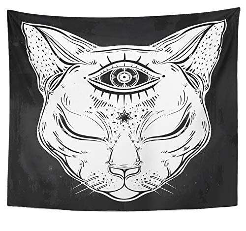 Emvency Tapestry Polyester Fabric Print Home Decor Black Cat Head Portrait with Moon and Three Eyes Third is Open for Halloween Wall Hanging Tapestry for Living Room Bedroom Dorm 50x60 Inches ()