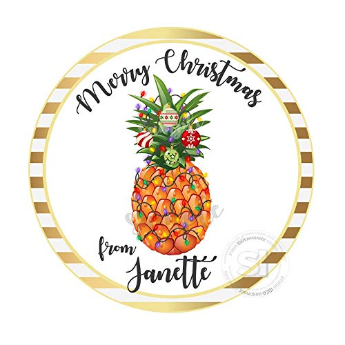 Printable Custom Christmas Pineapple Tagstoppersholidays Wishes Personalized Tags Stickers 2.5 Inches with 15Pcs ()