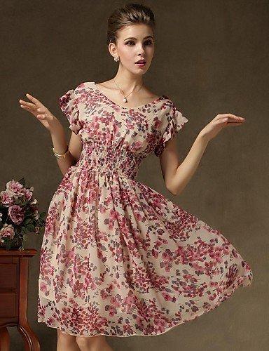 PU&PU Robe Aux femmes Swing Vintage , Fleur Col Arrondi Mi-long Polyester , blue-xl , blue-xl