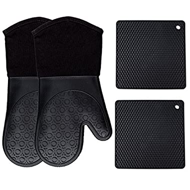 Homwe Silicone Oven Mitts and Potholders (4-Piece Sets), Kitchen Counter Safe Trivet Mats | Advanced Heat Resistant, Non-Slip Textured Grip Pot Holders(Black)