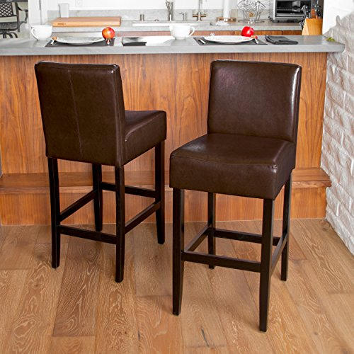 (Elegant Lowry Bonded Leather Barstools | Set of 2 Robust Bar Stools | Perfect for Kitchen Counter Dining or Lounging at the Bar | Adds a Touch of Sophistication to your Home)