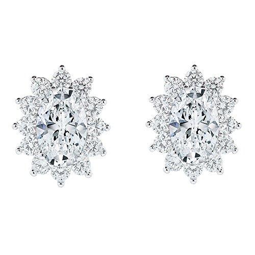 ate & Chloe Sage 18k White Gold Halo CZ Stud Earrings, Beautiful Trendy Cubic Zirconia Flower Cluster Earrings, Oval Cut Crystal Sparkling Studs Earring Set, Crystal Earrings ()