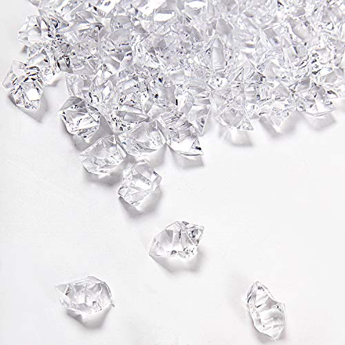 KINJOEK 500 Pieces 0.7 x 1 2.2 LB Acrylic Clear Ice Rock Fake Diamond Crystals Ice Cubes Gems for Home Table Decor Wedding Decorations Vase Filler Stage Acting, Photography Props, Art Crafts Working ()