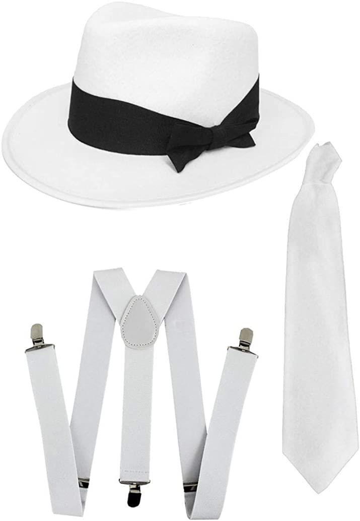 DELUXE 1920S GANGSTER FANCY DRESS SET - TRILBY HAT + SUSPENDER BRACES +TIE (White Hat)