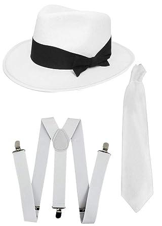 5385205b367b20 DELUXE 1920S GANGSTER FANCY DRESS SET - TRILBY HAT + SUSPENDER BRACES +TIE  (White Hat): Amazon.co.uk: Clothing