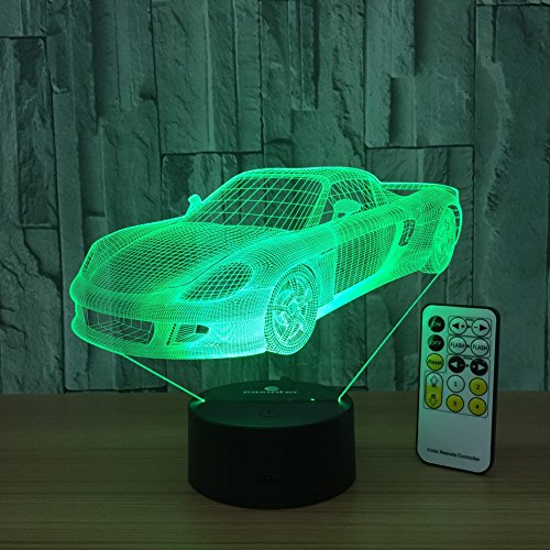 Night Light Toy Car 3d Night Light Beside Lamp Help Kids Fell Safe at Night Remote Control Adjustable 7 Colors Perfect Birthday Gift for Kids Great Toy Gift Idea for Kids by Csygood(Toy Car) (Ideas For A Halloween Night)