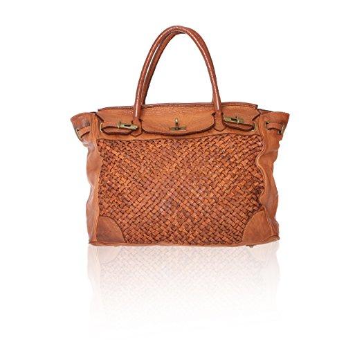 Chicca Borse Linea Vintage - Borsa a Mano Handbag da Donna in Vera Pelle con Intreccio Made in Italy - 39x33x15 Cm Cuoio Tan