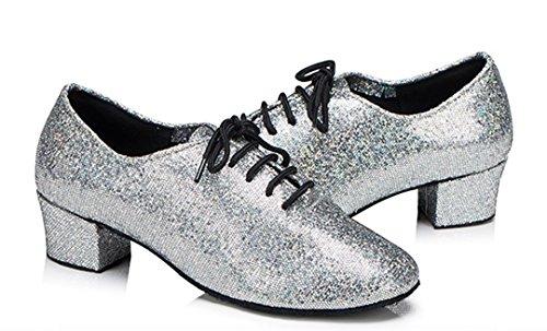 TDA Womens Comfort Round Toe Lace-up Glitter Mid Heel Salsa Tango Ballroom Latin Dance Shoes Silver BoodM