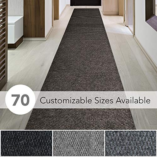 iCustomRug Spartan Weather Warrior Duty Indoor/Outdoor Utility Berber Loop Carpet Runner, Area Rugs, 3ft,4ft,6ft Widths 70 Custom Sizes with Natural Non-Slip Rubber Backing 4 X 6 in Brown
