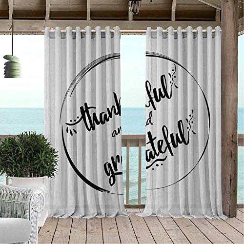 Linhomedecor Patio Waterproof Curtain Thanksgiving Monochrome Thankful and Grateful Hand Lettering in Round Simplicity Charcoal Grey White pergola Grommet Party Curtains 120 by 96 inch