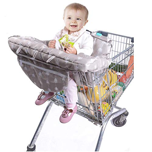 Lekebaby 2-in-1 Shopping Cart Seat Cover Restaurant High Chair Cover for Infants Toddler and Baby- Machine Washable(Arrow Print)